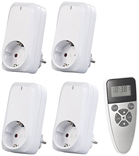 revolt Steckdosen Fernbedienung: 4er-Set Funksteckdosen mit Fernbedienung, Display, Timer, 1.150 Watt (Schaltbare Steckdosen)