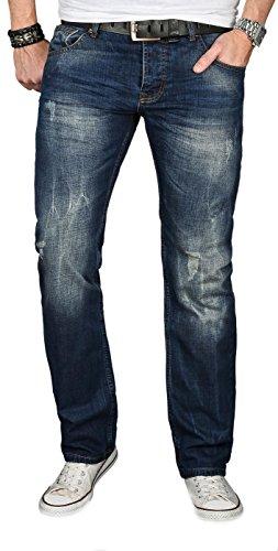 A. Salvarini Designer Herren Jeans Hose Jeanshose Regular Comfort gerades Bein, Blau Vintage, 36W / 32L