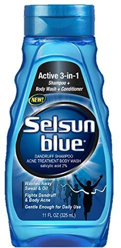 Selsun Blue Active 3-in-1 Body Wash, Shampoo and Conditioner, for Dandruff and Acne, 11 Ounces Each,...