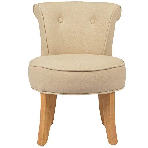 Petit fauteuil crapaud lin beige Louis