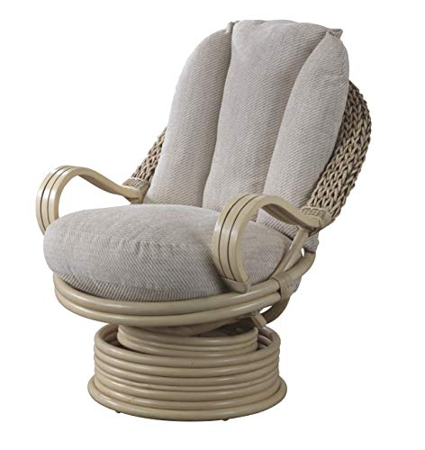 Desser Deluxe Swivel Rocker Chair in Jasper Fabric – 360° Swivel with Rocking Tilt Motion - Real Cane Rattan Conservatory Indoor Furniture – Quallofil Technology - H98cm W80cm D98cm