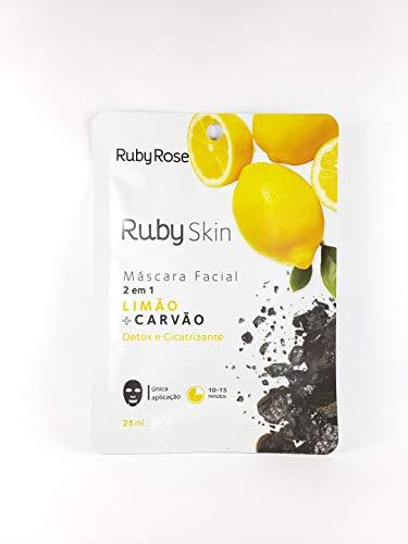 Máscara Facial De Tecido Skin Ruby Rose LIMÃO + CARVÃO HB-707