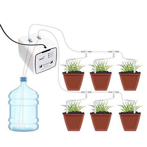 Irrigazione a goccia autoirrigante, APP mobile WIFI Dispositivo di irrigazione automatico, Set di irrigazione automatica con timer automatico a doppia pompa per fiori 20 vasi