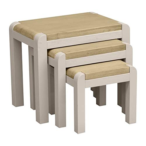 Nest of Tables, Nest of 3 Tables, Nesting Coffee Tables in Natural Solid Oak Wood/Painted Grey with Smoked Oak Top and Grain Effect/Multi-functional Side Table/Set/Living Room/Lounge/Study