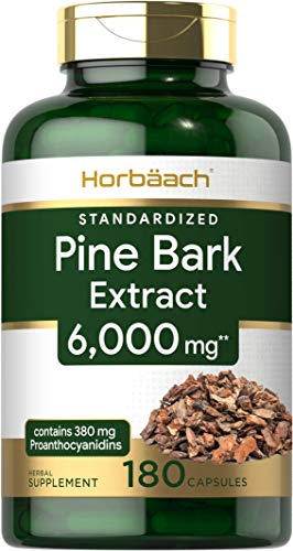 Horbaach Pine Bark Extract 6000 mg   180 Capsules   Standardized to Contain 95% Proanthocyanidins   Non-GMO, Gluten Free Supplement