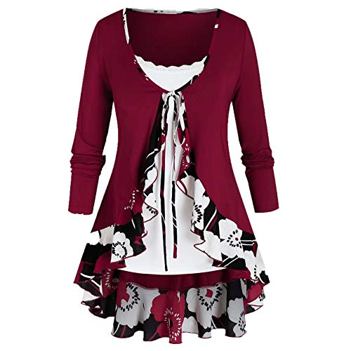 Aniywn Women's Lace-Up Cardigan Floral Print Ruffle Lightweight Long Sleeve Tops and Sleeveless Vest T-Shirt Set Red
