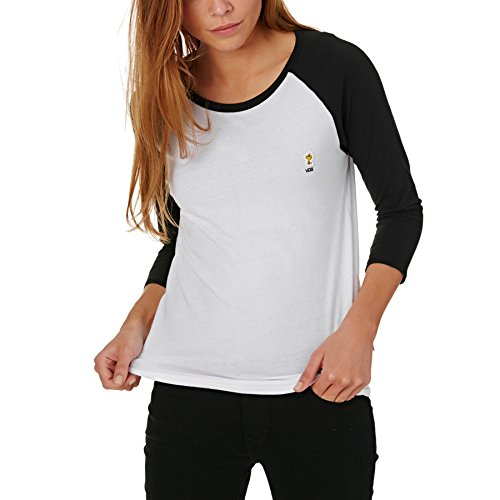 Vans_Apparel Damen Woodstock Raglan T-Shirt, Weiß (White/Black), 6 (Herstellergröße: X-Small)
