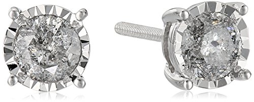 14k Round Diamond White Gold Miracle Stud Earrings (1cttw, J-K Color, I2-I3 Clarity)