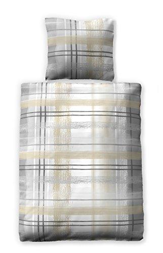jilda-tex Seersucker Bettwäsche Watercolor 100{83330948c8d570c44cca05c066e47343a4f01cdb45a08a9223f8d3f9937bf3c9} Baumwolle Sommerbettwäsche Größen (135 x 200 cm, Grau)