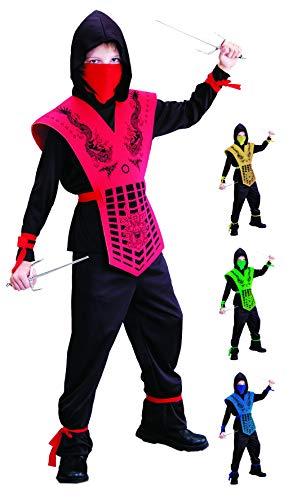 Foxxeo schwarz rotes Ninja Kostüm für für Jungen schwarzes Ninjakostüm Kinderkostüm Größe 110-116