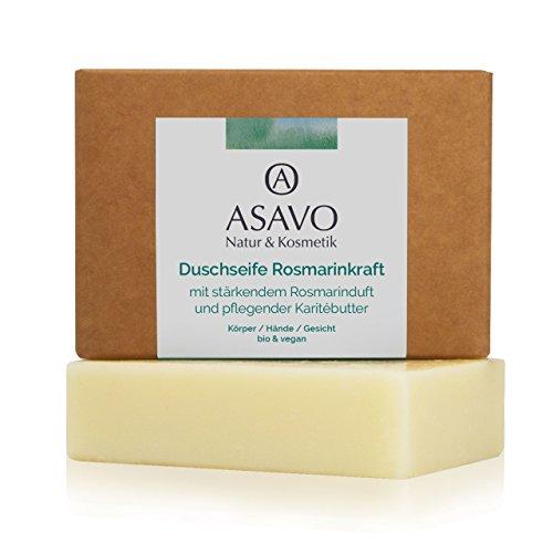 ASAVO Premium Naturseife Rosmarin, handgeschöpft, mit feiner Bio-Karitébutter, nativem Bio-Kokosöl & 100% ätherischen Ölen, vegan, Clean Beauty Produkt, 95g