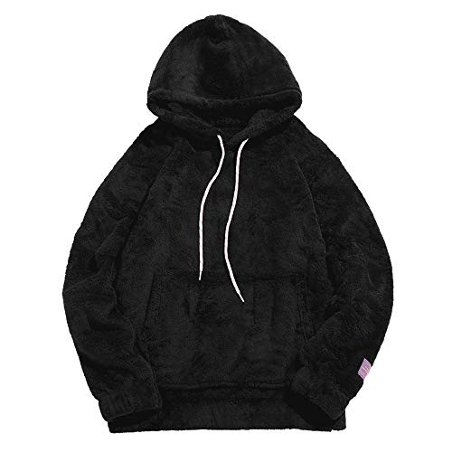 ZAFUL Mens Solid Winter Fluffy Hoodie Oversized Hooded Pullover Sweatshirt Outwear with Kangaroo...