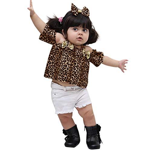 Moneycom❤ Camiseta de leopardo para niño con hombros descubiertos y braguitas para bebé, cumpleaños, tul, chic, ceremonia, boda, caqui caqui 6-12 Meses