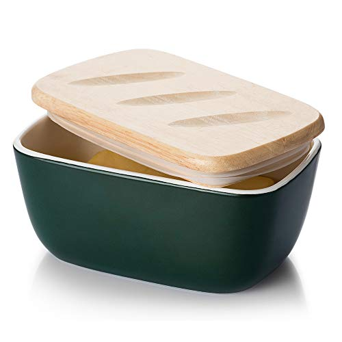 DOWAN Porcelain Butter Dish - Covered Butter Container with Wooden Lid for Countertop, Farmhouse Butter Dish with Covers Perfect for East West Coast Butter, Dark Green