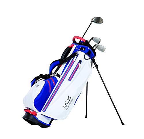 JuCad Bag 2 in 1 Waterproof I Wasserdicht I Tragebag I Cartbag I Golf I Tasche I Farbe Blau-weiß-Rot
