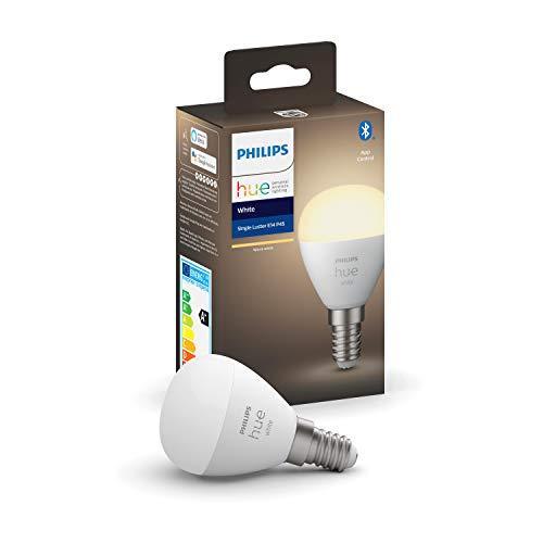 Philips Hue White E14 LED-Tropfen Luster, Einzelpack, dimmbar, warmweißes Licht, steuerbar via App, kompatibel mit Amazon Alexa (Echo, Echo Dot)