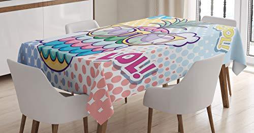 ABAKUHAUS lol Tafelkleed, Pineapple zonnebril Liefde Cool, Eetkamer Keuken Rechthoekige tafelkleed, 140 x 170 cm, Veelkleurig