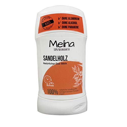Meina Naturkosmetik - Deo Stick ohne Aluminium mit frischem Sandelholz Duft (1 x 75 g) Bio Deodorant für Damen und Herren - vegan, alkoholfrei, handgemacht - 24 Std. Schutz