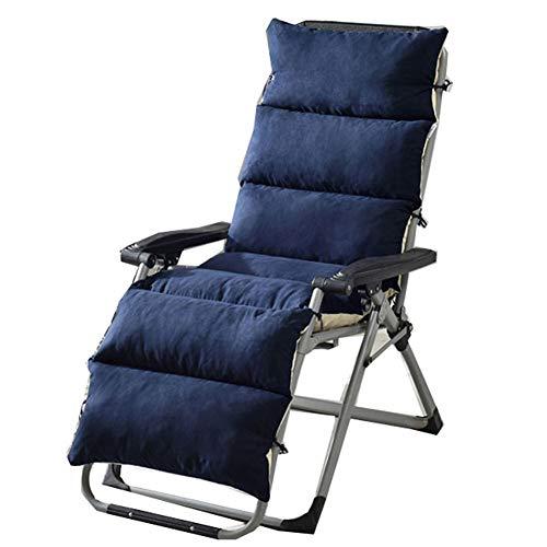 ZHHL - Cojines de asiento gruesos para silla de mimbre plegables para interiores y exteriores, antideslizante, portátil, azul marino, 155*50*12