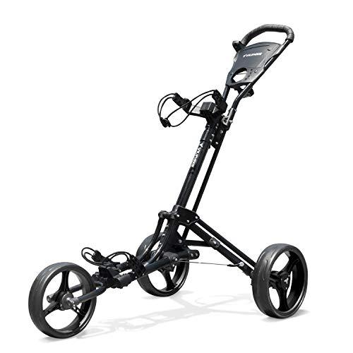 Vilineke OneClick - Carrello da golf a 3 ruote, pieghevole e leggero, colore: Nero
