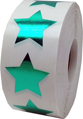 Metallic Green Star Shape Stickers 1 Inch 500 Adhesive Labels