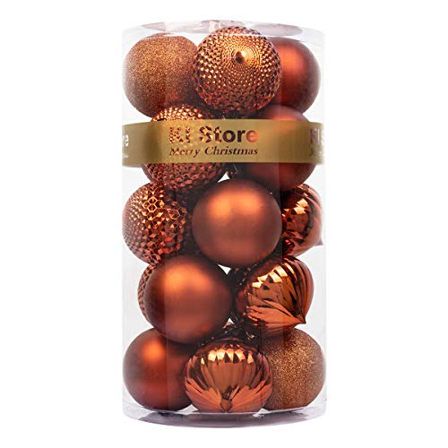 KI Store Christmas Ball Ornaments Shatterproof for Holiday Wedding Party Decoration, Tree Ornaments Hooks Included (Bronze, 3.15')