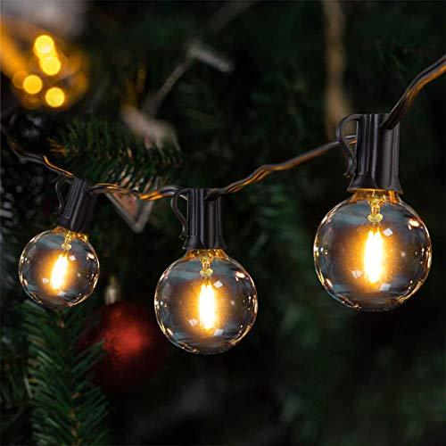 LED Catena Luminosa Esterno,VIFLYKOO 36 FT Catena Luci Stringa con 25 lampadine 3 di Ricambio G40 Bianco Caldo Impermeabile Decorazione da Esterno e Interno per Festa,Giardino,Natale,Matrimonio