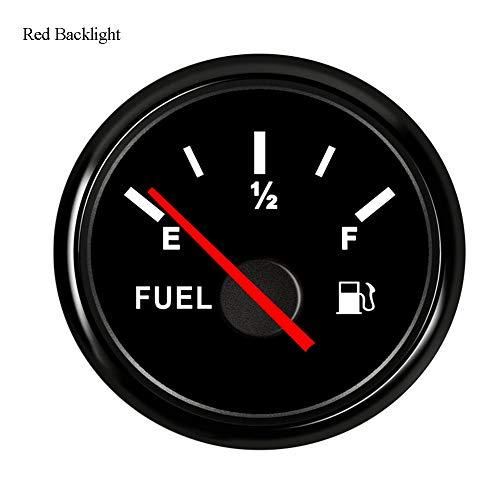Odometer Spur Tachometer 52mm Kraftstoffanzeige 0~190ohm / 240-33ohm Auto-Boots-Tankanzeige mit Hintergrundbeleuchtung 9~32V ZHQHYQHHX (Color : Black 12 Gauge, Size : Kostenlos)