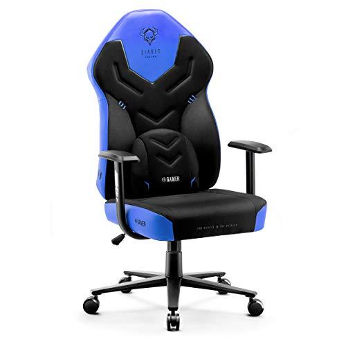 Diablo X-Gamer 2.0 Silla Gaming Gamer de Oficina Tela Diseño Ergonómico Cojín Lumbar Apoyabrazos Cómodos (Negro-Azul)