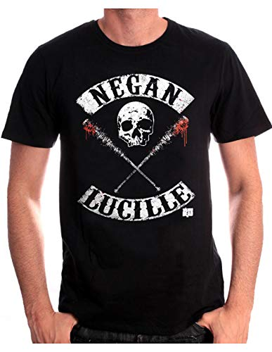 cotton division Negan Lucille Rockers T-Shirt, Nero, M Uomo