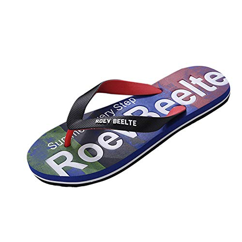 Realdo Men's Flip Flops Fashion Color Splice Letter Print Shoes Sandals Male Indoor Or Outdoor Slipper