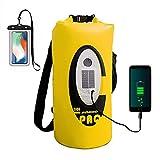 ztarx Waterproof Dry Bag Speaker, Dry Bag Backpack with Bluetooth Speaker Solar Powered and USB...