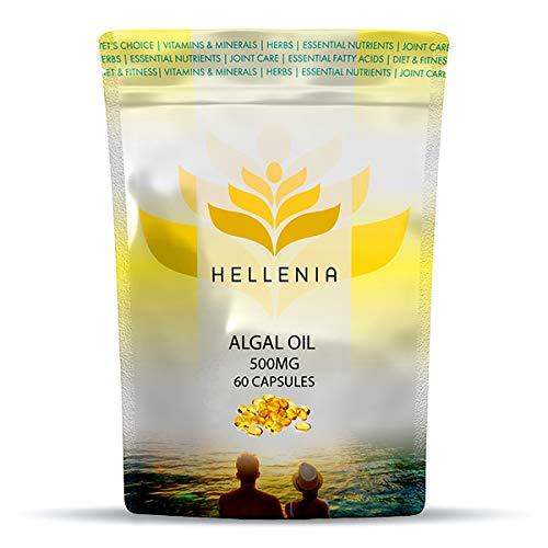 Hellenia DSM Algal Oil 500mg - Vegan Omega 3-60 Capsules | UK Manufactured | Easy to Swallow Softgels | Vegetarian Fish Free Essential Fatty Acids