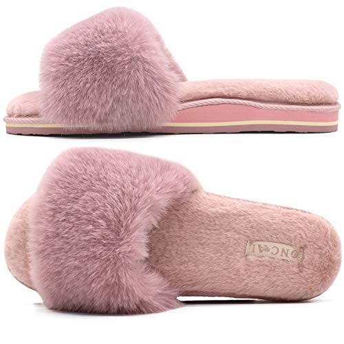 ONCAI Zapatillas de Estar por Casa de Mujer Zapatillas de Felpa Mujer Punta Abierta Peludo Acogedor Pantuflas de Sandalias Interiores y Exteriores Verano Invierno Mullidas Pantuflass de Casa