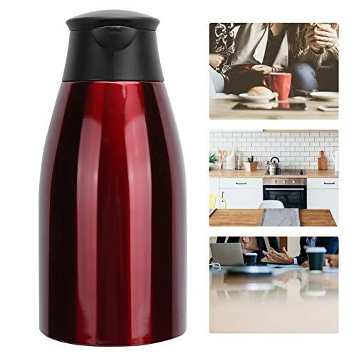 SALALIS Acero Inoxidable + PP Plástico 2L Café Taza térmica Jarra térmica Estructura hermética para el hogar, la Oficina, al Aire Libre(Red)