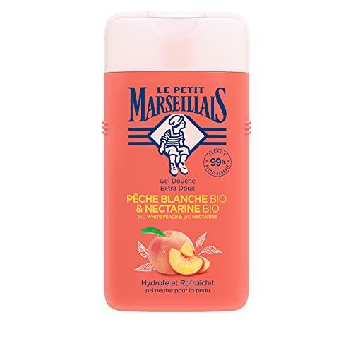 Le Petit Marseillais Duschgel BIO Weißer Pfirsich & BIONektarine (250ml), pH-hautneutrale Pflegedusche & sanfte Aromadusche mit besonders angenehmen Duft, spendet Feuchtigkeit und erfrischt