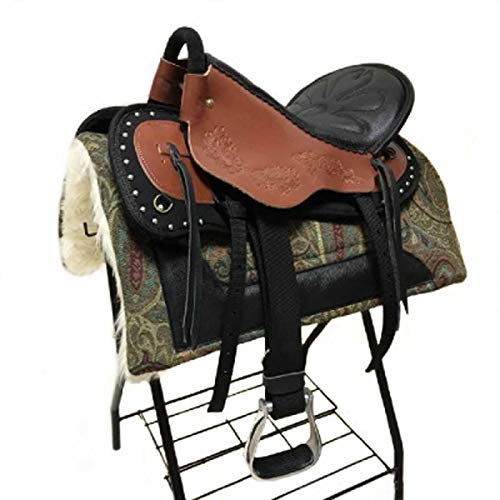TNNT Sillín de caballo, sillín Western, sillín Western, sillín Western, sillín de caballo, equipamiento de equitación, accesorios de equitación, duradero, cómodo, color rojo