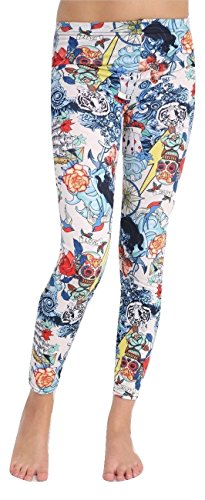 Momo&Ayat Fashions Dames Grafitti Kaarten Schedel Liefde Halloween Leggings UK Maat 8-26