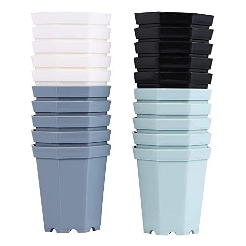 20PCS Vaso da Fiori in Plastica Ottagonale,Vasi in Plastica per Piante Grasse,Plastica Colorati Vasi Fiori,Plant Pot Pot per Casa, Giardino, Ufficio, Scrivania