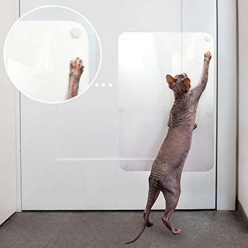 PETFECT Kratzschutz für Türen, Katzentür, für Innen- und Außenbereich, 45 x 30 cm, transparent