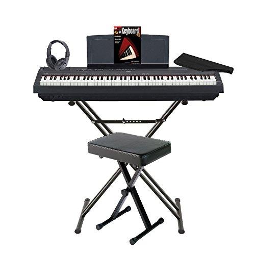 Yamaha p-115b 88graduiert Hammer Standard (GHS) Digital Piano (schwarz) Paket mit Knox Double X Ständer Knox breitem Bench Sustain Pedal Staub Cover Kopfhörer und Fasttrack Buch und DVD