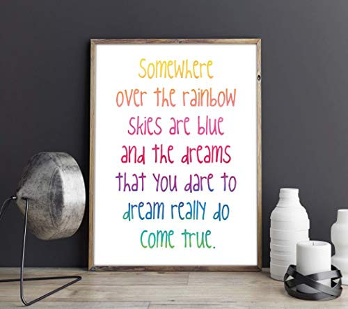 Somewhere over the rainbow Skies are blue Wizard of Oz Quote Song Lyrics Judy Garland Inspirational Kids Room Wall Art Nursery Print