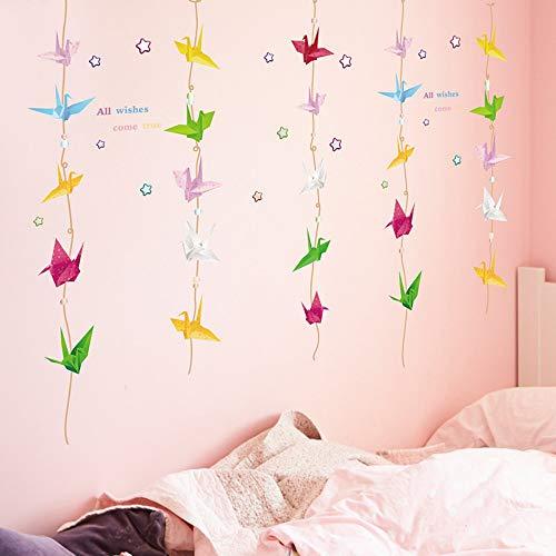 Wall Stickers Nursery School Classroom Fondo de la Habitación de los Niños Decoración de la Pared Miles de Papel Grulla Origami Autoadhesiva
