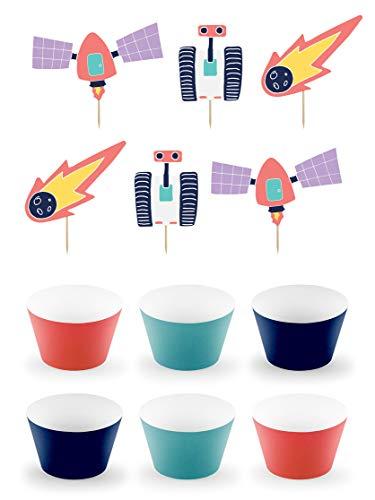 6 moules à Cupcakes de l'espace en Papier - Space Party