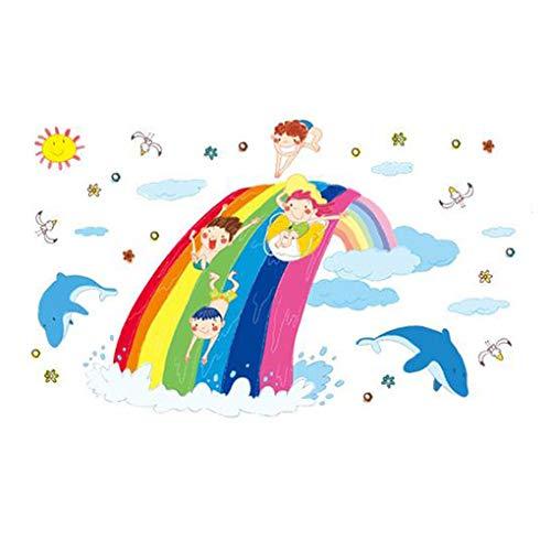Mode Étanche Autocollant Mural DIY Amovible Art Papier Peint pour Bébé Garçon Fille Chambre Cuisine Fenêtre,Happy Kids Cartoon Animals
