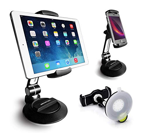AboveTEK Suction Cup Cell Phone Holder, Large Sticky Pad Tablet Mount on Kitchen Desk Office Window Bathroom Mirror Car Windshield, Swivel Smartphone Tablet Stand 4-11' iPhone 5 6 7 iPad Mini Air Pro