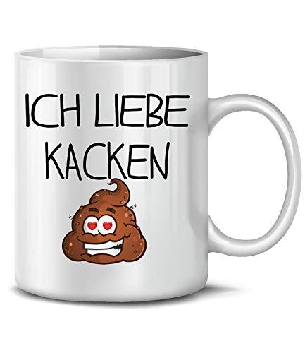 Golebros Fun Kaffeetasse Ich Liebe Kacken 6197 Tasse Becher Kaffeebecher Beruf Job Arbeit Handwerker Arbeitskollege furzen pupsen kacken scheißen Love Weiss