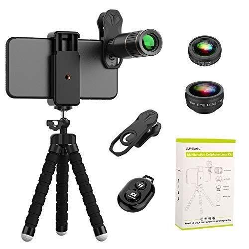 TLMYDD Lente del teléfono móvil, lente universal del teléfono móvil externo macro 16 veces teleobjetivo ojo de pez lente de conversión gran angular, cámara de seguridad del traje 4 en 1