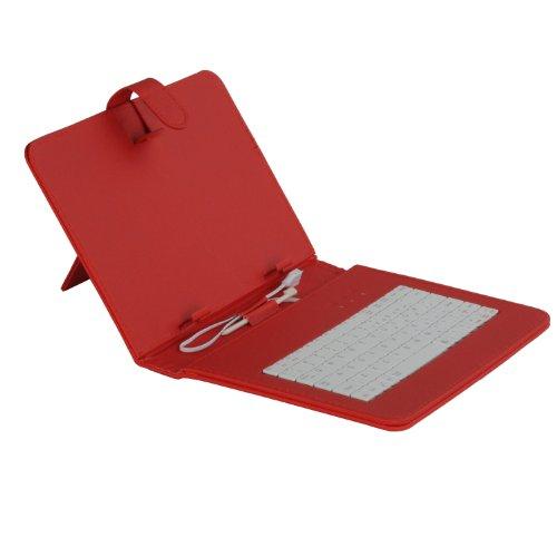 LOBZON NewUniversal - Funda de piel con teclado para tablet de 9 pulgadas, con conexión micro USB, color rojo