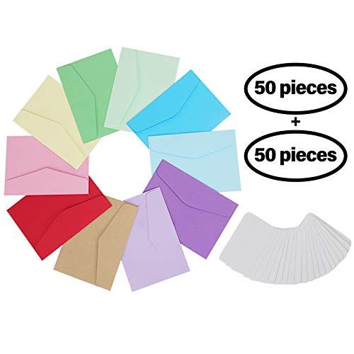 PrettyDate 50 mehrfarbige Mini-Umschläge, niedlich, mit 50 Blanko-Karten, Karten für Hochzeit, Festival, Geburtstagsparty